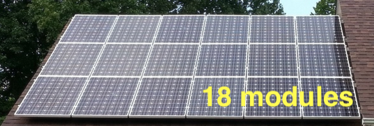 solar PV modules array roof